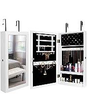 Yorbay smyckesskåp, smyckeskåp med spegel, väggmontering/dörrmontering, smyckedisplay och organisation, låsbar, för ringar, örhängen, halsband, armband, halsdukar, presentidéer, 67 x 37 x 10cm, vit