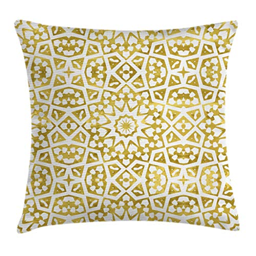 """Ambesonne Eastern Throw Pillow Cushion Cover, Abstract Design with Oriental Moroccan Geometric Motifs Tile Art Print, Decorative Square Accent Pillow Case, 16"""" X 16"""", Gold White"""