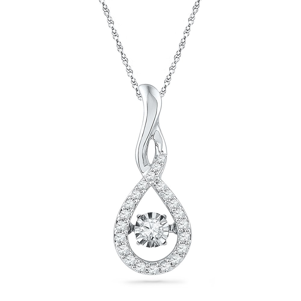 Sterling Silver Round Diamond in Motion Fashion Pendant (1/4 cttw) by D-GOLD