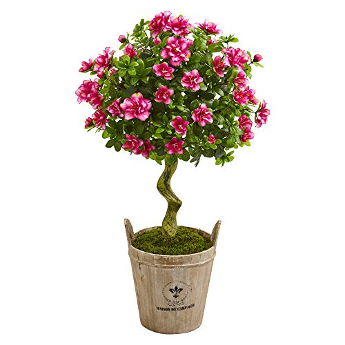 Nearly Natural 9293 3-Ft. Azalea Artificial Topiary Farmhouse Planter Silk Trees, Pink