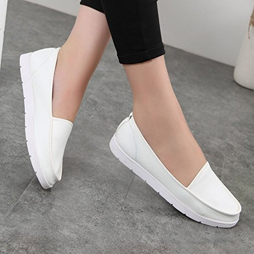 Summerwhisper Donna Comfort Mocassini Bassi Slip On Flats Pumps Shoes White