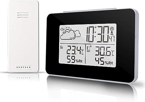 CWWHY Estación inalámbrica de pronóstico del Tiempo con Reloj Despertador, termómetro Digital para Interiores y Exteriores, Temperatura del barómetro, Sensor Remoto: Amazon.es: Deportes y aire libre
