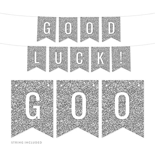 Andaz Press Faux Silver Glitter Retirement Party Banner Decorations, Good Luck!, Approx 5-Feet, 1-Set, Birthday Wedding Baby Shower Colored Hanging Pennant Decor