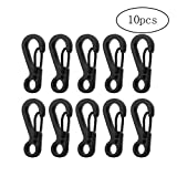 Carabiner Camping Hiking Spring Snap Clip Hook Key-Chain EDC for Emergency Survival Black 10 PCS
