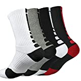 4 Pack Mens Basketball Socks Cushion Athletic Long Sports Outdoor Socks Dri-fit Compression Sock 6.5-11.5