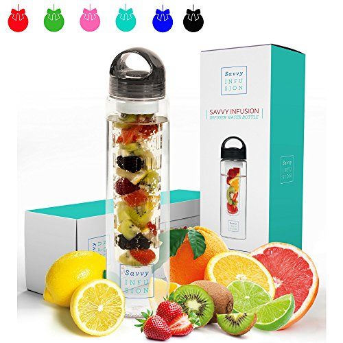 Savvy Infusion Water Bottles - 32 Ounce - Featuring Unique Leak-Proof Sealed Cap with Handle - Includes Bonus Recipe Ebook