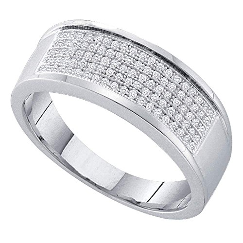 Sterling Silver Womens Round Diamond Wedding Anniversary Band Ring 1/3 Cttw by Saris and Things