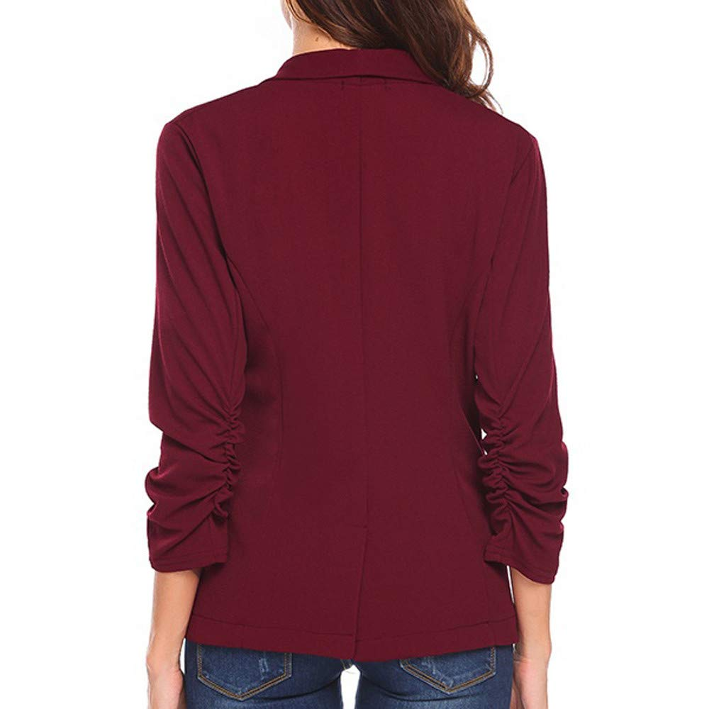 Womens Blazer Plain 3//4 Ruched Sleeve Open Front Lightweight Work Office One Button Cardigan Jacket