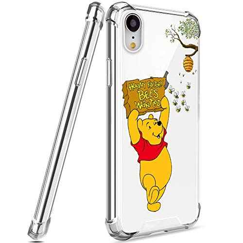 DISNEY COLLECTION Crystal Clear iPhone XR Case, [Anti-Yellow] Thin Slim [Anti-Scratch] with 4 Corners Shockproof Protection Hard PC + TPU Cover Case for iPhone XR 6.1 Inch 2018 - Winnie The Pooh 02