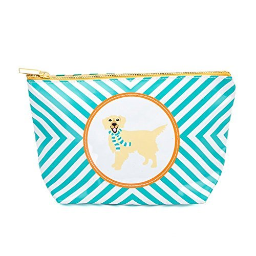 (Two's Company Dog Image Cosmetic Bag (Blue-Golden Retriever))