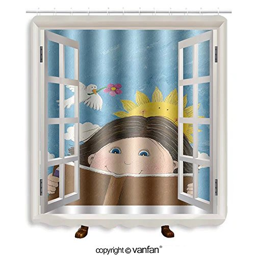 Vanfan designed Windows 112474517 Acrylic illustration of boy reading book in the pa Shower Curtains,Waterproof Mildew-Resistant Fabric Shower Curtain For Bathroom Decoration Decor With Shower - Stores Reading Outlet Pa