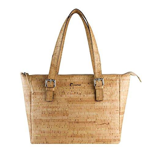 Corkor Vegan Handbag Satchel Cork Purse Top Handle Women Peta Approved Natural Rustic by Corkor