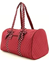"Quilted Solid 21"" Duffle Bag /W Polkadot Accent"