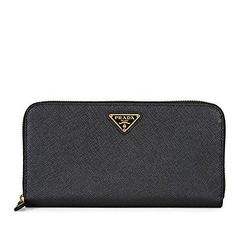 Prada Triangolo Saffiano Leather Continental Wallet - Black