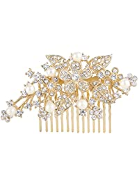 Ever Faith Bridal Orchid Leaf Simulated Pearl Hair Comb Clear Austrian Crystal