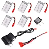 Goodfans 5PCS 3.7V 750mAh Lithium Battery For MJX X300C X400 X800 Quadcopter Spare Parts with 5 in1 Charger Us Plug and EU Adapter