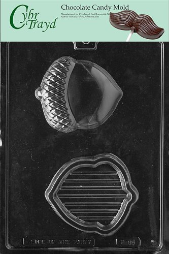 Cybrtrayd Life of the Party F085 Acorn Pour Box Fruit Nut Chocolate Candy Mold in Sealed Protective Poly Bag Imprinted with Copyrighted Cybrtrayd Molding Instructions