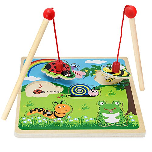 Wooden Wonders Lift & Look Magnetic Bug Catcher Game with 2 Wands (6 pcs.) by Imagination Generation Catcher Game