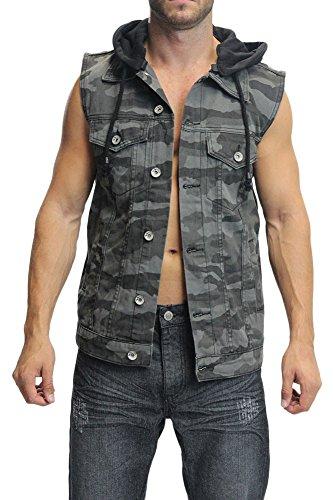 Victorious Camo Denim Vest with Detachable Hood DK85 - BLACK/CAMO - Large