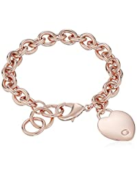 "GUESS ""Basic"" G Logo Heart Link Bracelet"