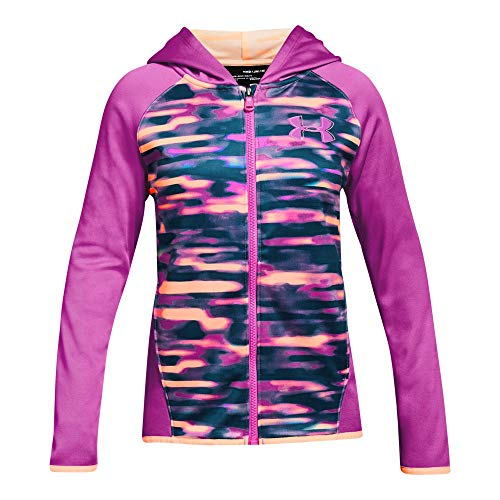 Under Armour Girls Armour Fleece Full Zip, Fluo Fuchsia (565)/Fluo Fuchsia, Youth X-Large