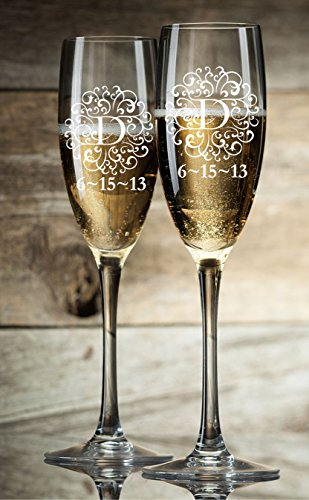Personalized Champagne Glasses Champagne Flutes Monogram Initial Toasting Glasses Set of 2