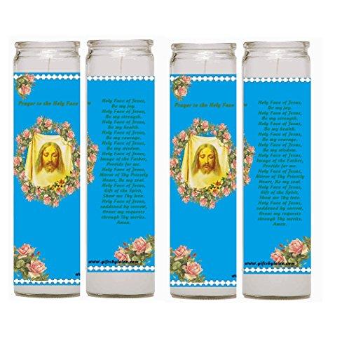 A Prayer to the Holy Face Saint Veronica Veil Set of Two or 4 Candles Veladoras Set de 2 o 4 (4)