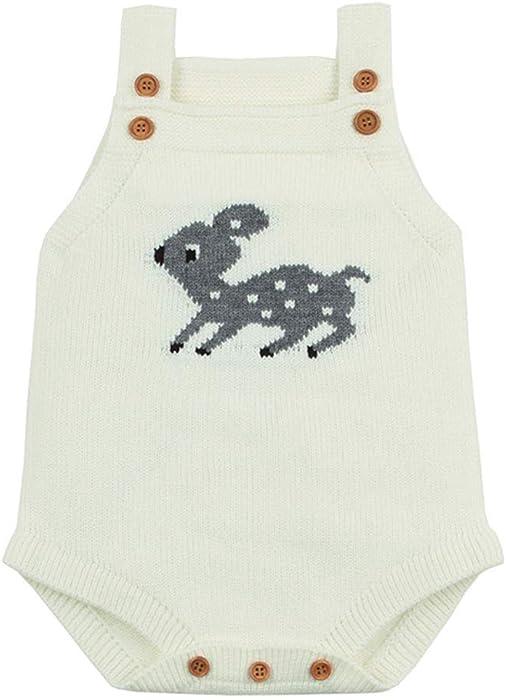 Tefamore Mameluco Punto Otoño Invierno Recién Nacido Bebé Niño Niña Manga Larga Elástico Mono Peleles Ropa