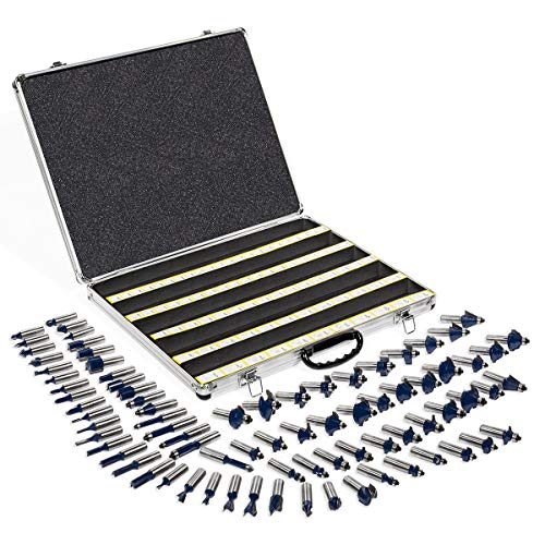 "XtremepowerUS 80pcs 1/2"" Shank Carbide Router Bits Tungsten Carbide Bit Set Woodworking Tool Carbon Steel 2 Blade 3 Blade Carrying Case"