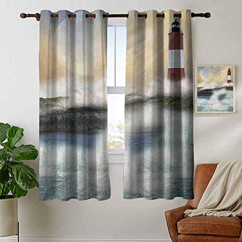 petpany Window Blackout Curtains Lighthouse,Oil Painting Style Artwork of Stormy Sea Splashing Waves Moon and Lighthouse, Multicolor,for Room Darkening Panels for Living Room, Bedroom ()
