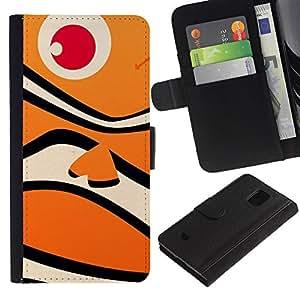 For Samsung Galaxy S5 Mini / Galaxy S5 Mini Duos / SM-G800 !!!NOT S5 REGULAR! ,S-type® Fish Happy Neo Orange Ocean Pattern - Dibujo PU billetera de cuero Funda Case Caso de la piel de la bolsa protectora