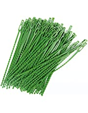 100PCS Green Multi-Use Garden Plant Ties, 9.05 Inch Flexible and Adjustable Plastic Plant Support Ties for Secure Vine