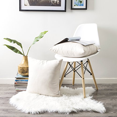 Kevin Textile Cozy Throw Cushion Covers Pillow Cases for Couch/Bed/Sofa,Super Soft Faux Suede Solid Color Both Sides, 18 X 18 Inches, Pack of 2, Parchment Beige (Couch Crochet For Pillows)