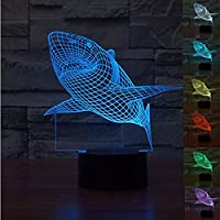WONFAST Magical Panel 3D Optical Visualization Illusion 7 Colors Change USB Touch Switch Table Lamp Bulbing LED Light Night Lighting Home Decoration Household Lights (Shark)