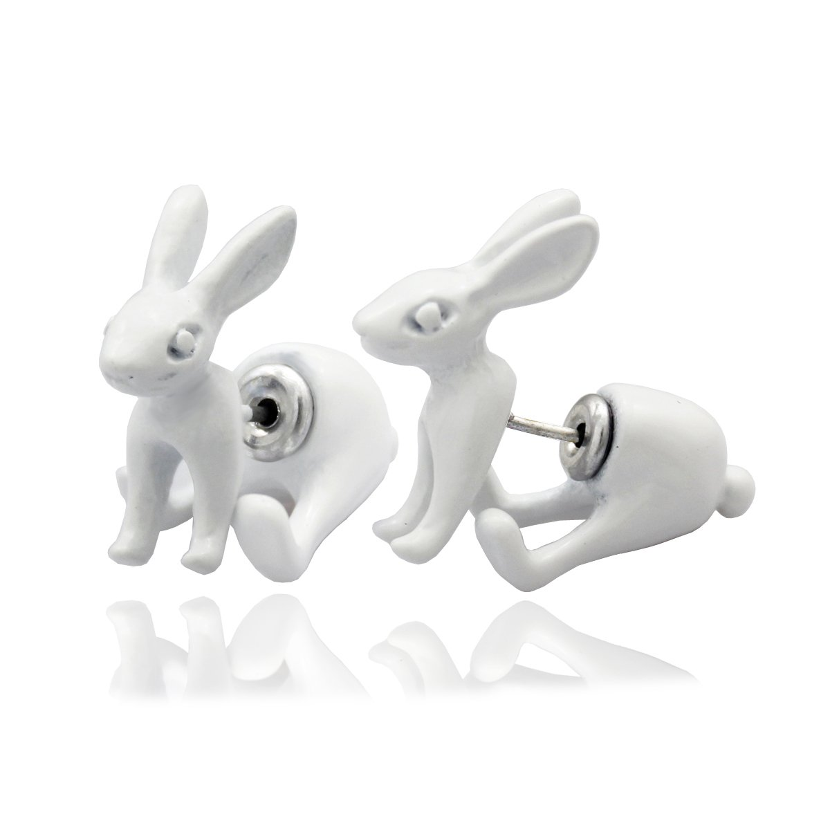 Q & Q Mode 1paire 3d Blanc Mars lièvre Lapin Alice au pays des merveilles Boucles d'oreilles clous d'oreille Q&Q Fashion B06XV5Z7FD_US