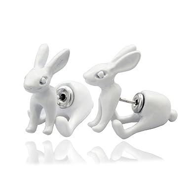 64e1c14b1 RechicGu 1Pair White 3D March Hare Rabbit Bunny Alice In Wonderland Earrings  Ear Studs: Amazon.co.uk: Jewellery