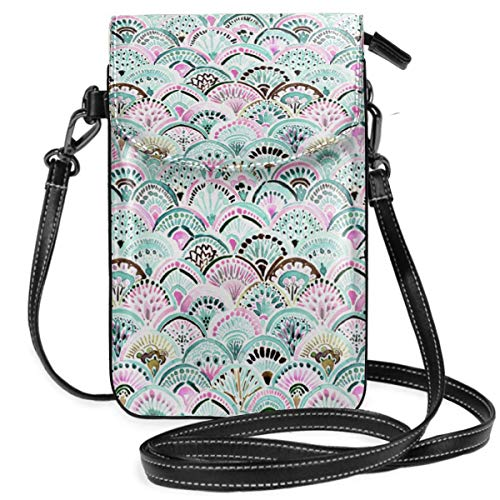 Small Cell Phone Purse Crossbody Cellphone Shoulder Bag Boho Mermaid Medallion Mint Smartphone Wallet Purse with Removable Strap