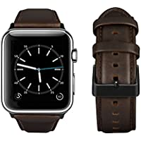 top4cus Genuine Leather iwatch Strap Replacement Band (Matte Buckle/Coffee brown)