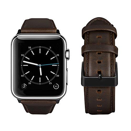 top4cus Correa de Cuero para Correa de reemplazo iwatch con Hebilla de Acero Inoxidable, Compatible con 38mm 42mm Apple Watch...