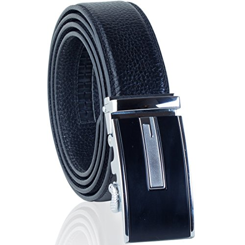 (Ratchet Belt for Men - Black Leather 2 Automatic Buckles - Adjustable Comfort Click - Gift Box 3 sizes, 2 colors (L, black/silver buckles))