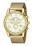 Akribos XXIV Men's AK813YG  Round Yellow Gold Radiant Sunburst Dial Chronograph Quartz Bracelet Watch