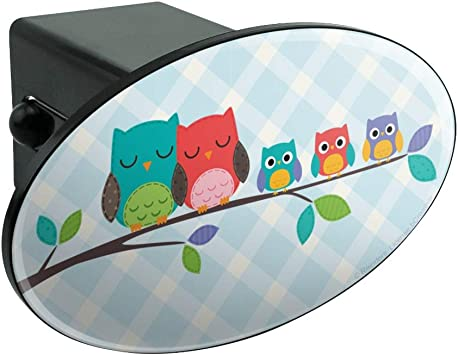 Graphics and More Cute Colorful Owl Family Tow Trailer Hitch Cover Plug Insert