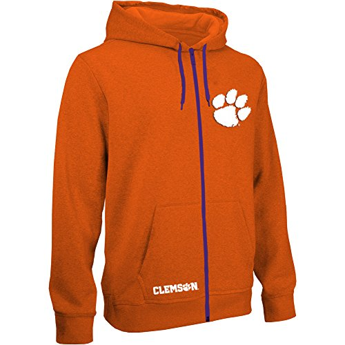 Elite Fan Shop Top of The World Clemson Tigers Men's Full Zip Hoodie Applique Icon, Orange, Large