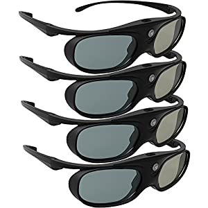 DLP Link 3D Glasses, ELEPHAS 144Hz Rechargeable Active Shutter Eyewear for All DLP-Link 3D Projectors-- Acer, ViewSonic, BenQ Vivitek, Optoma, Panasonic, Dell, Viewsonic etc (4 Pack)