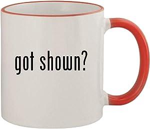 got shown? - 11oz Ceramic Colored Rim & Handle Coffee Mug, Red