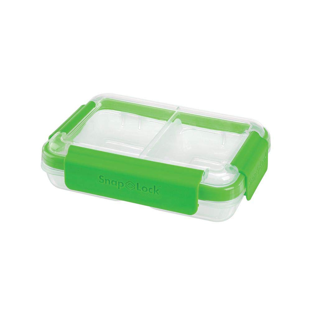SnapLock by Progressive Split Container - Green, SNL-1002G Easy-To-Open, Leak-Proof Silicone Seal, Snap-Off Lid, Stackable, BPA FREE
