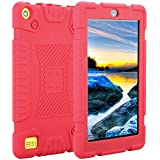 TabPow All-New Fire 7 Tablet (7th Gen, 2017) Light Weight Easy Grip Child-Proof Protective Kids Case Cover For Fire 7 Tablet (7th Gen, 2017) & Fire 7 (5th Gen, 2015) -Red