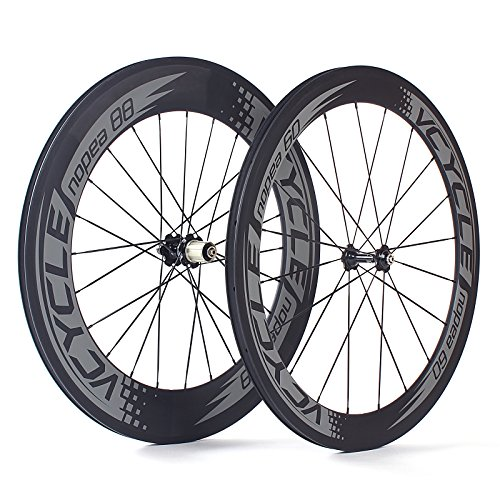 VCYCLE Nopea 700C Road Bike Carbon Wheelset Clincher Front 60mm Rear 88mm Shimano or Sram 8/9/10/11 Speed (Bike Replace Cassette)