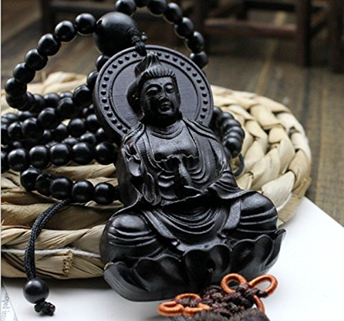 pureaqu Luxury Handicraft Wood Key Chains Car Mirror Ornaments Good Luck Safety Car Interior Decoration Happy Buddha Statue Souvenir Gift Wood Carved Figurines Craft Supplies ()