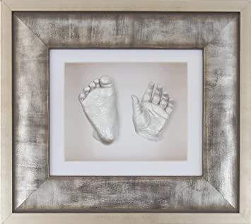 New Unique Baby Casting Kit Gift Silver Hand /& Feet Casts Urban Metal 3D Frame